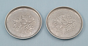 Two Hammered Aluminum Coasters, J.b. N.y.