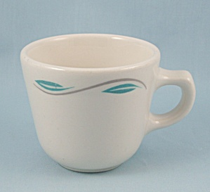 Homer Laughlin Cup - Turquoise Leaf