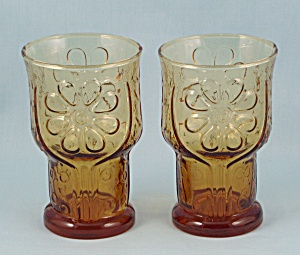 2 Juice Tumblers, Libbey Glass - Country Garden, Amber