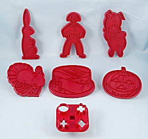 6 - Figural, Occasion Cookie Cutters, Red Plastic / Tupperware