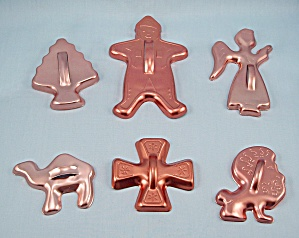 6 - Coppertone Aluminum Cookie Cutters, Figural	 (Image1)
