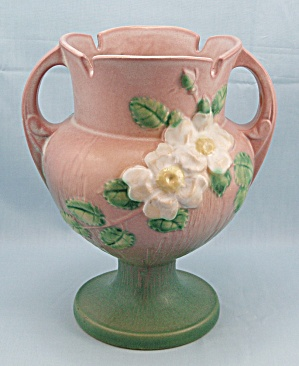 Roseville White Rose Double Handle Vase 147-8	 (Image1)