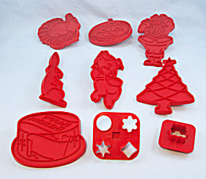 9 - Tupperware - Red Cookie Cutters - Holiday / Occasion