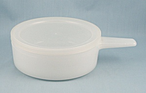 Glasbake Soup Bowl, 2639 - White, Long Handled - With Lid