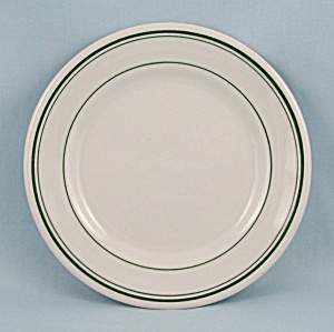 1952 Wellsville China B & B Plate, Green Lines (Image1)