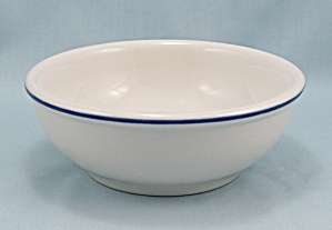 Sterling China Chili Bowl, Blue Rim