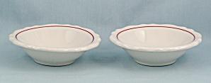2- Homer Laughlin Dessert Bowls, Maroon Line (Image1)