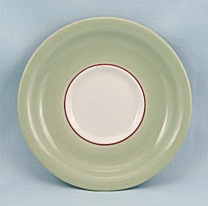 Sterling China Saucer, Green, Maroon Stripe (Image1)