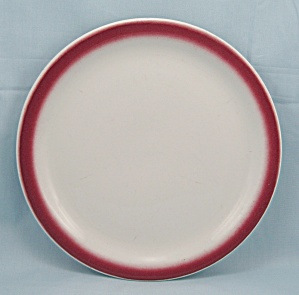 Shenango China Plate - Maroon Airbrushed Rim