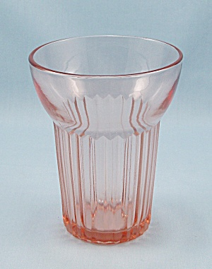 Queen Mary – Vertical Ribbed – Hocking Glass Co. – Pink Water Tumbler (Image1)