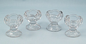 4 Footed Glass Salt Cellar Dips, Colonial / Panel