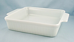 Vintage Fire King Square Baker #1452 - Ribbed, White - Hospitality Ovenware By Anchor Hocking