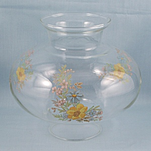 Clear Globe Glass Lamp Shade, Floral Decals	 (Image1)