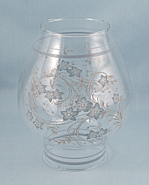 Glass Hurricane Lamp Shade, Floral Decal (Image1)