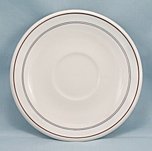 O.P. Co. Saucer � Three Lines, Maroon & Blue	 (Image1)