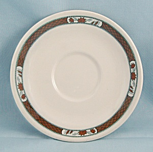 Mcnicol China Saucer - Floral & Brown Ribbon Border