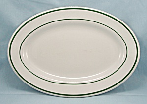 Lawrence Vitrified China Oval Platter � Green Lines (Image1)