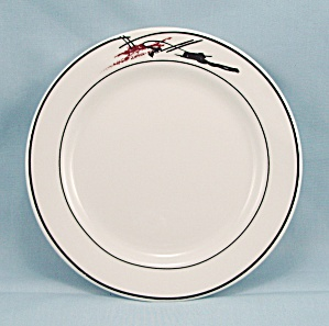 HLC - Bread & Buter Plate - Black Lines, Coral Stroke (Image1)