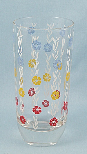 Weighted Tumbler, Red, Blue, Yellow Floral, White Stems