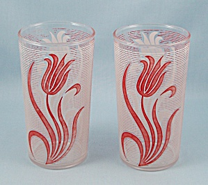 Vintage Lined Tumbler - Red & White Tulips