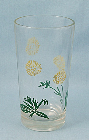 Vintage 5-inchtumbler, Yellow Flowers, Green Stems
