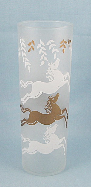 Libbey Cavalcade Tumbler - Gold & White Horses - Frosted