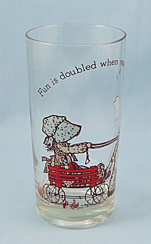1978 Holly Hobbie Tumbler - Fun Is Doubled When You Share It