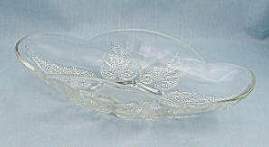Renaissance - Clear, Relish Dish, Beaded Leaf, Crystal
