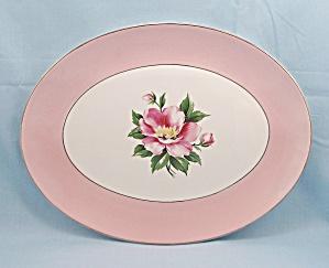 Century – Empress – Oval Platter – Pink Rose & Border (Image1)