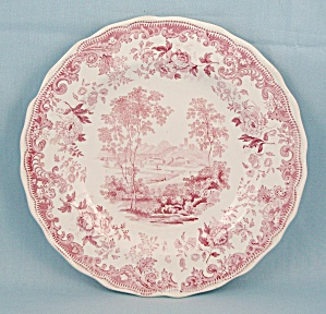 Early Davenport- Red/ Pink China Plate, Transfer/ Anchor Mark (Image1)