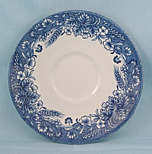Churchill – Currier & Ives - Blue Floral Saucer (Image1)