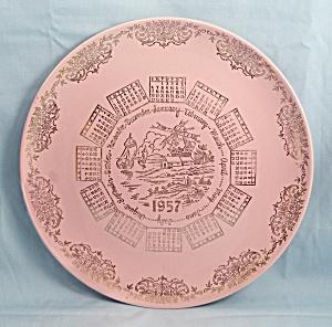 T S & T – 1957 Pink Calendar Plate – Windmill, Gold Filigree (Image1)