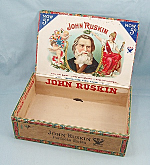 John Ruskin - Wooden - 5 Cent Cigar Box - Nra