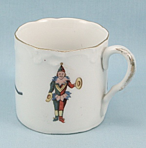 German Child's Cup/mug - Jester, Stick-horse, Trumpet
