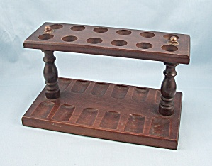 Walnut Pipe Stand, 12 Slots, Double Row, Pipe Rack	 (Image1)