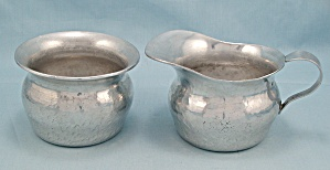 Hammered Aluminum Cream & Sugar