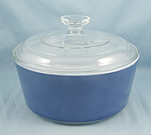 Pyrex 483 B - Flat Bottom Dish & Lid - Blue