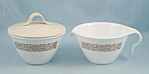 Corelle - Woodland Brown - Creamer & Covered Sugar Bowl