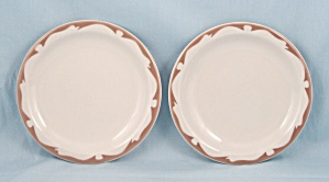 2 -buffalo China - Tan Crest - B & B Plates