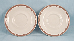 2 -buffalo China - Tan Crest - Saucers