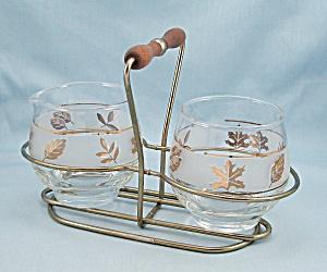 Libbey – Golden FOLIAGE - Cream & Sugar Bowls / Cradle (Image1)