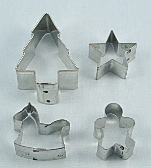 4 Mini Aluminum Cookie Cutters, Christmas