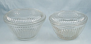 Crystal, 2 Ribbed Refrigerator Bowls / Lids By Anchor Hocking