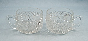 2 Aztec Clear Punch Cups – McKee Glass (Image1)