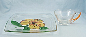 Hawaiian Square Plate, Gay Fad Studios, Painted Floral Design, Matching Cup, Clear Saucer