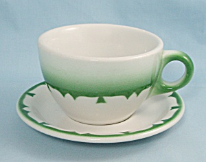 Jackson China Cup & Saucer, Green Airbrushed	 (Image1)