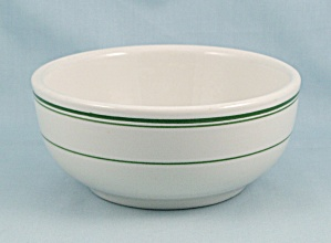 Wellsville China Chili Bowl, Green Lines #C (Image1)