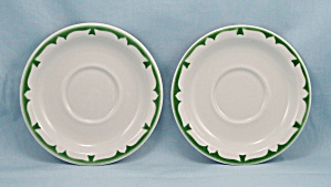 2 - Jackson China - Green Crest - Saucers