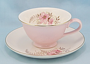 Taylor, Smith & T. - Pink Cup & Floral Saucer, Pink Flower & Fern