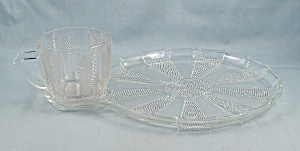 Dewdrop – Snack Plate & Punch Cup – Jeannette Glass (Image1)